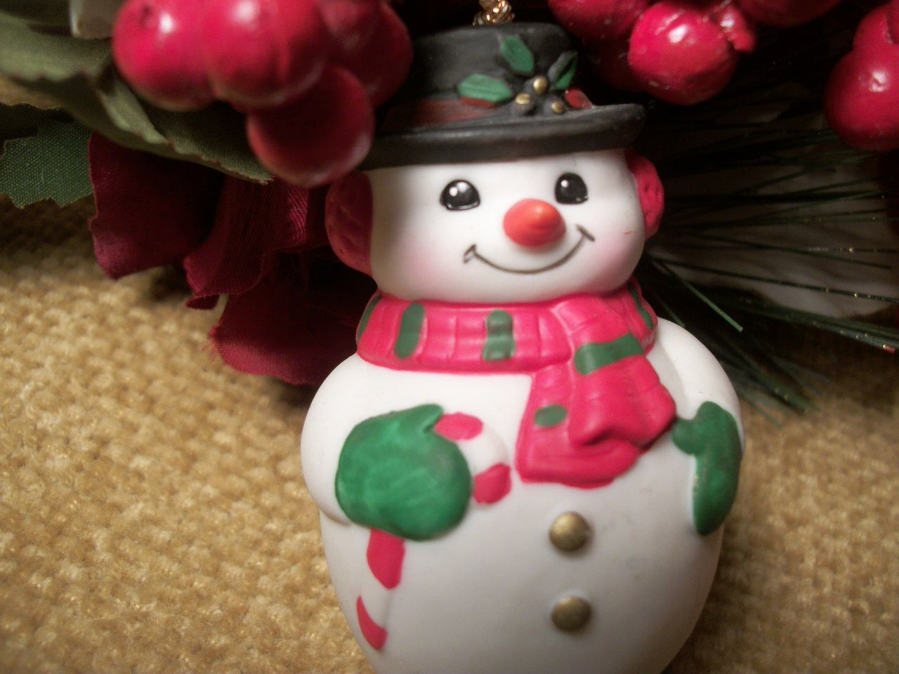 Snowman Bell Christmas Tree Ornament Collectible Vintage