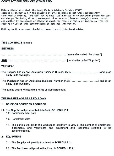 Service Contract Template and Important Terms to Write , Service - contract template between two parties