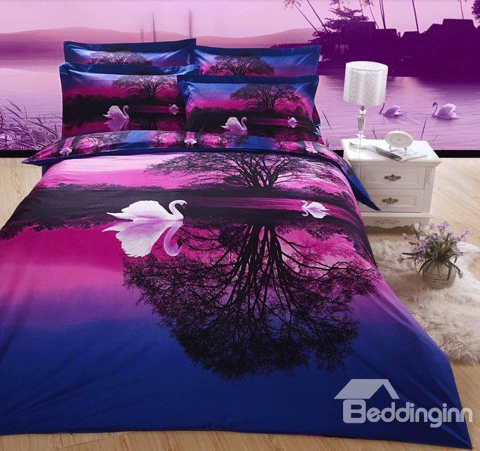 Purple 4 Piece Swan Lake Cotton Bedding Sets with Printing  #beddingset #3dbedding #duvetcoverset Live a better life start with @beddinginn