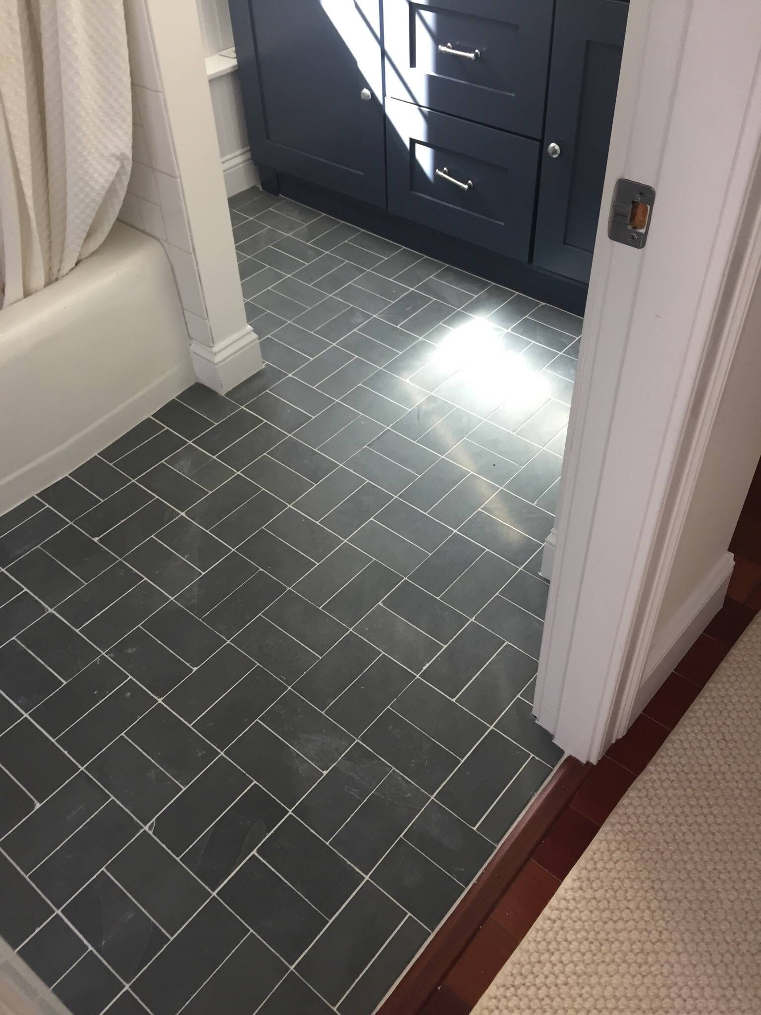 3x6 Brazilian Black Slate Bathroom Floor With Bright White Grout