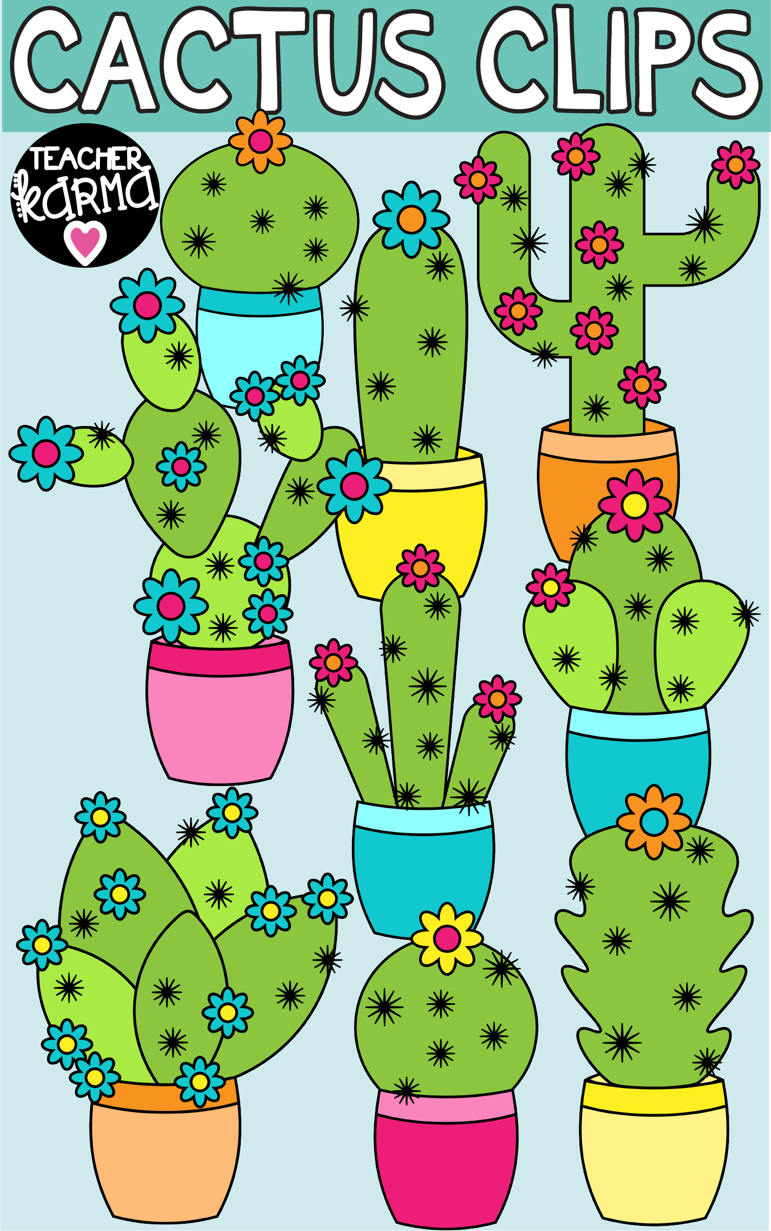 cactus clipart is perfect for classroom decor teacher organization or to create products to sell on tpt cacti graphics are ok for commercial use  [ 1505 x 2401 Pixel ]