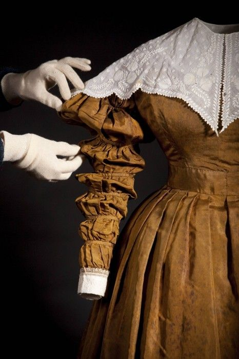 Detail of a dress worn by Queen Victoria at her first Privy Council meeting - - 1837