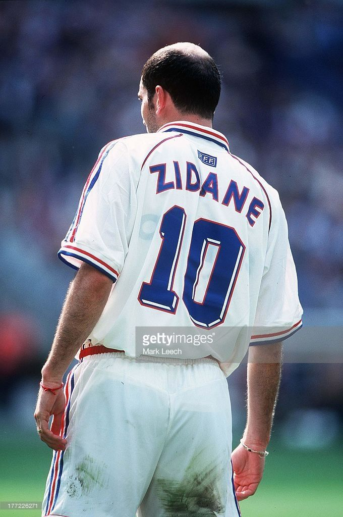 3 July 1998 France V Italy World Cup 98 Quarter Final View Of Zinedine Zidane And His Bald Sp Italy World Cup France Football Jersey Sports Tshirt Designs