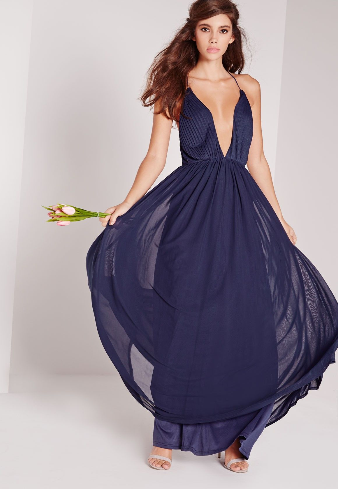Missguided - Strappy Pleated Plunge Maxi Dress Navy | Gown | Pinterest