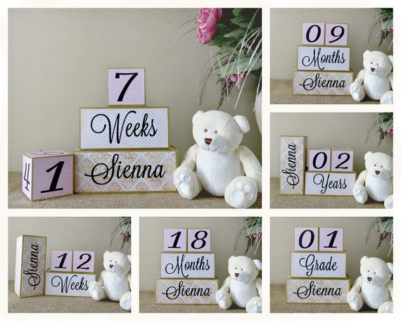 Baby age blocks with name wooden baby blocks personalized baby baby age blocks with name large wooden baby blocks personalised baby milestone blocks for photo prop baby shower gift pink and gold negle Choice Image