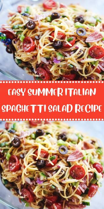 Easy Summer Italian Spaghetti Salad Recipe  #greenpeppers