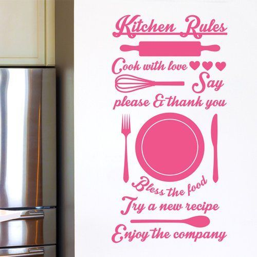 East Urban Home Kitchen Rules Cook with Love Try a New Recipe Wall Sticker #kitchenrules Kitchen Rules Cook with Love Try a New Recipe Wall Sticker Cut It Out Wall Stickers Colour: Pink #kitchenrules