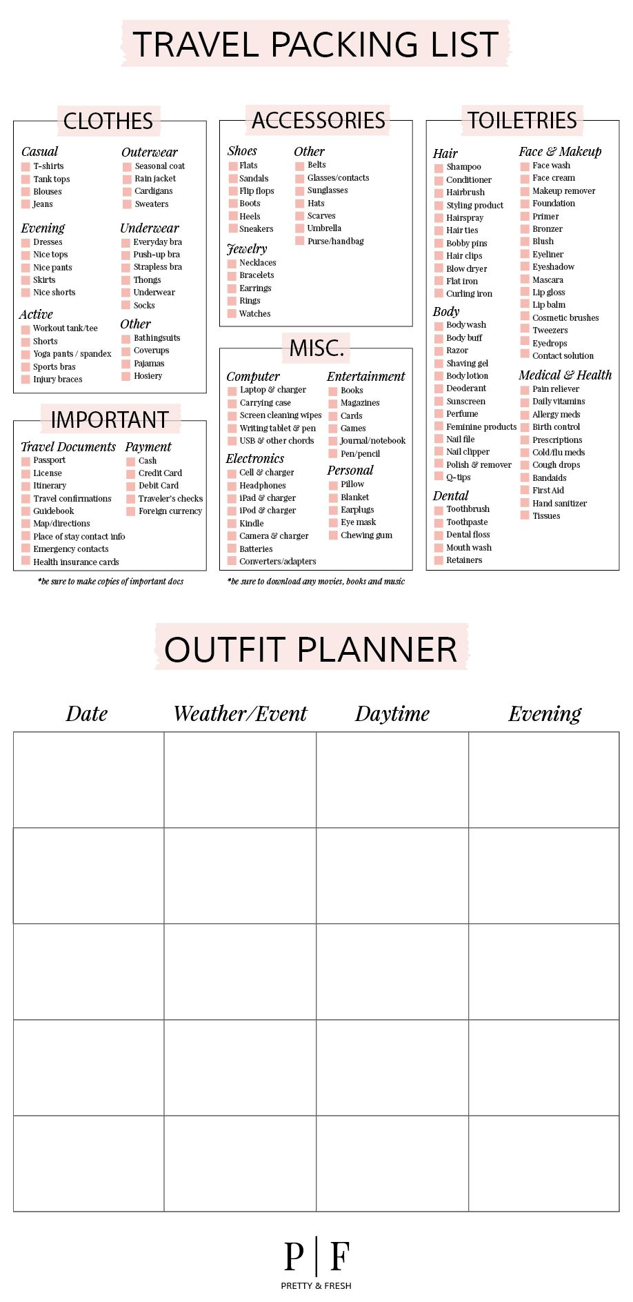packing checklist and outfit planner does not take you to the list