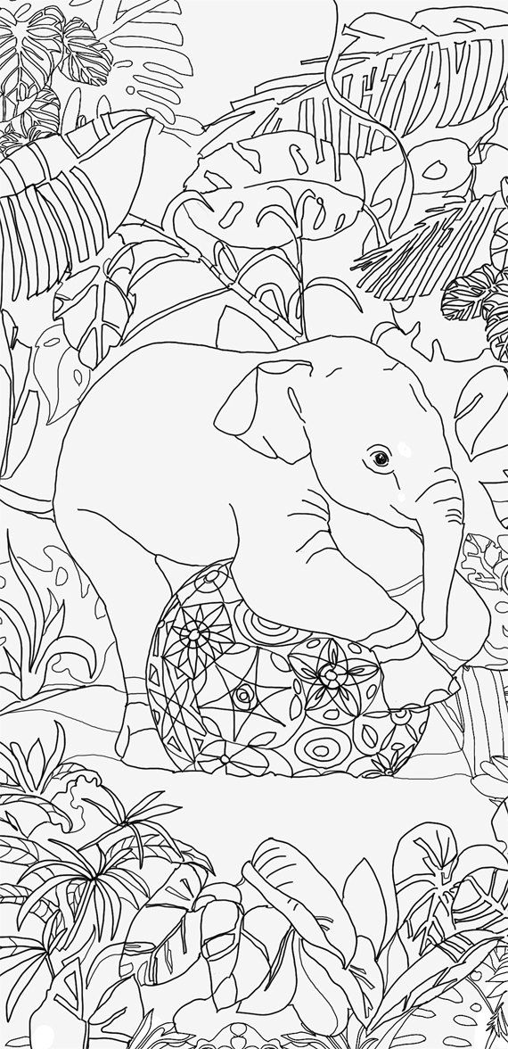 Printable coloring pages Adult Coloring book Elephant Clip Art Hand ...