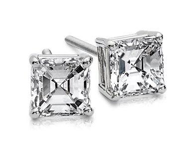 Asscher Diamond Studs Diamond Studs Asscher Diamond Diamond Earrings Studs