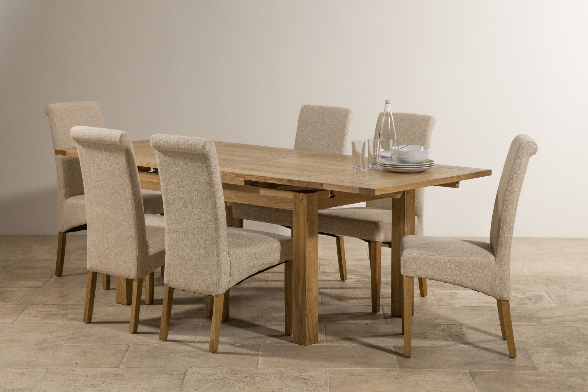 Dorset X Solid Oak Extending Dining Table 6 Beige Fabric Scroll Back Chairs By Furniture Land