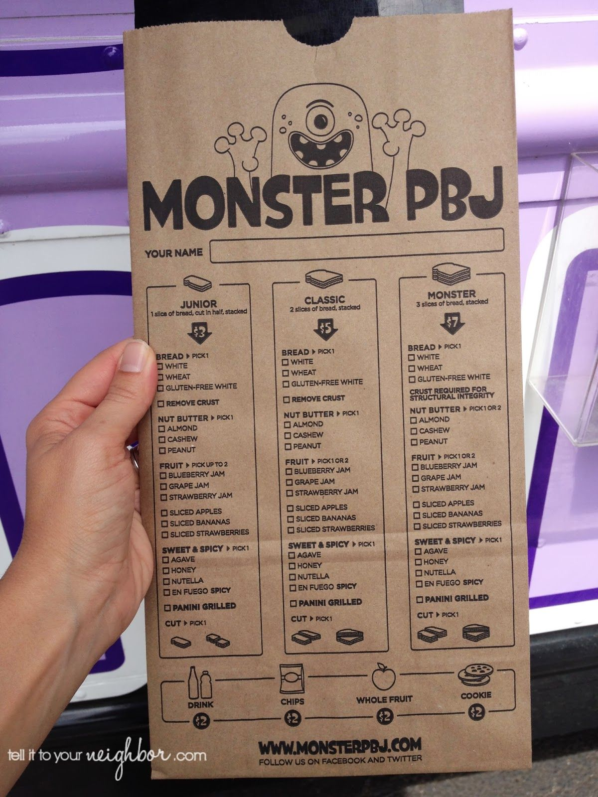 PBJ Food Truck-menu on a paper bag! This is such a funny and great ...