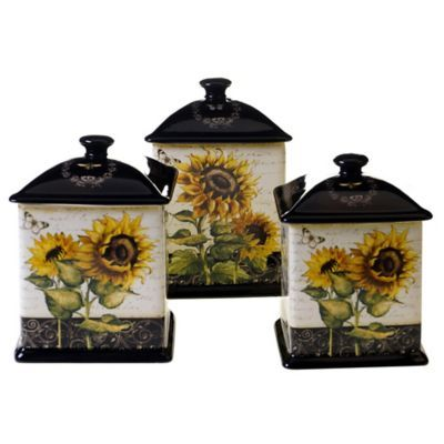 Certified International French Sunflowers Canister Set And