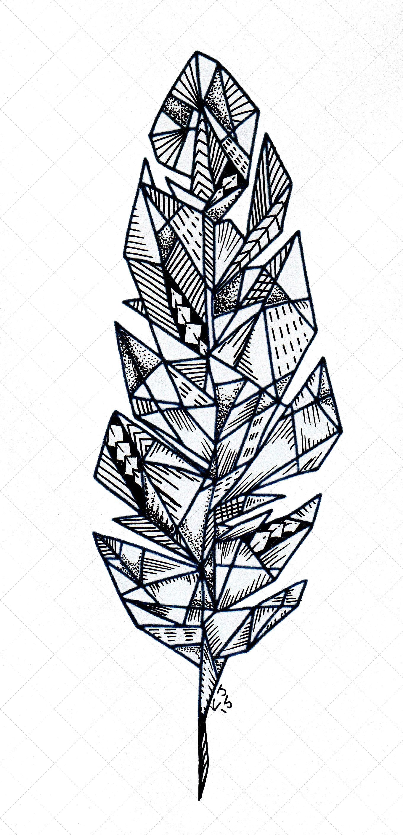 Custom Hand Drawn Geometric Feather You Made Me Ink Artwork I