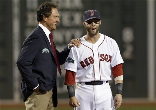 "Former Boston Red Sox outfielder Fred Lynn, left, greets current player Dustin Pedroia during ceremonies honoring the ""All-Time Fenway Park Team"" prior to a baseball game against the Tampa Bay Rays at Fenway Park in Boston, Wednesday, Sept. 26, 2012. (AP Photo/Elise Amendola)"
