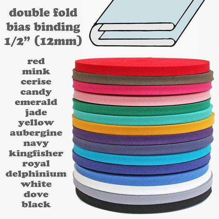 1/2 Inch Double Fold Bias Binding (Price Per Metre)