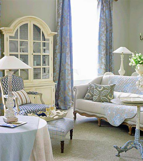 Cottage French Country Living Room | Blue and White ...