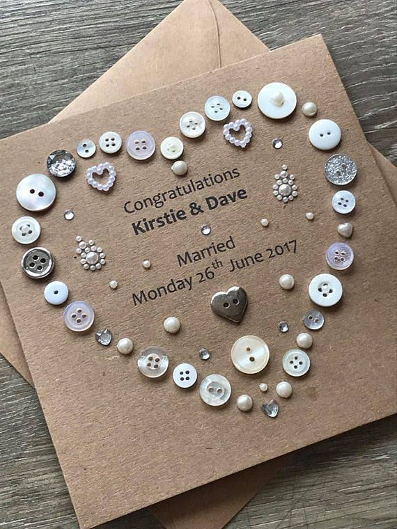 Button art Personalised Rustic Wedding Card #personalizedwedding