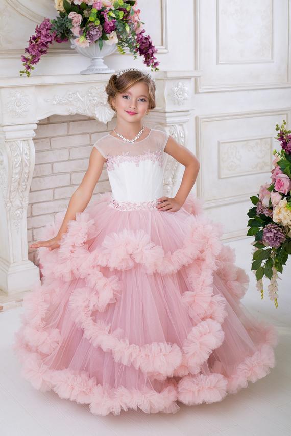 510b28a3e5 Blush Flower Girl Dress Rose junior bridesmaid dress Baby dress Blush tulle  dress Handmade dress Lac