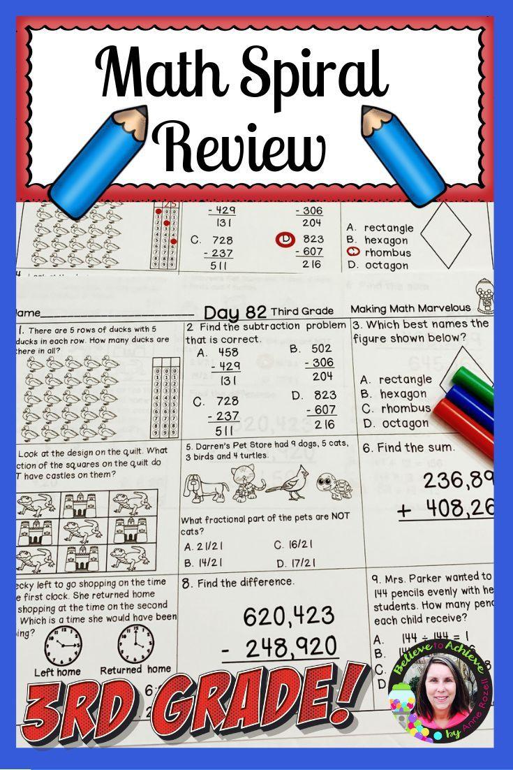 3rd Grade Math Spiral Review for Morning Work or Homework ...