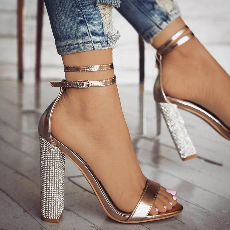 76121794a82 High Heels Rhinestone Square Heel Women s Sandals in 2019