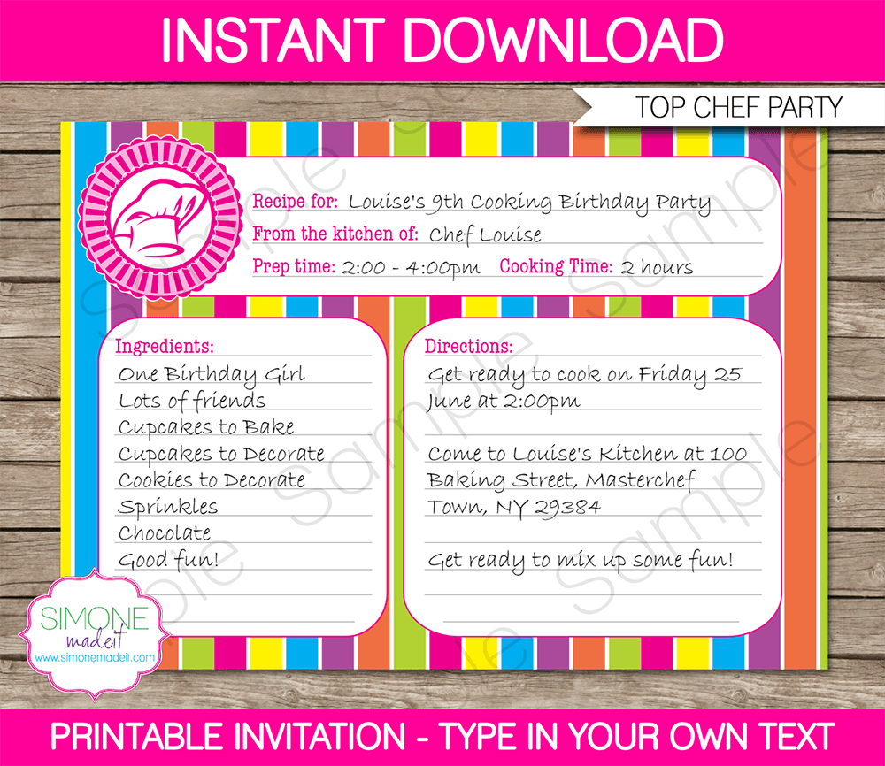 Printable Time Card Template Recipe Card Cooking Party Invitation Template  Pinterest  Recipe .