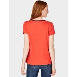 Photo of Tom Tailor Denim Damen T-Shirt mit Kontrast-Kragen, rot, unifarben, Gr.S Tom TailorTom Tailor