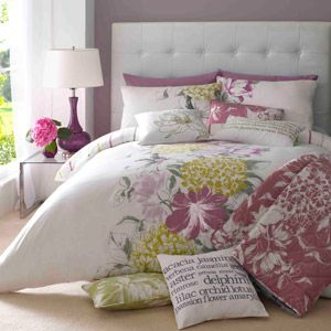 Faded florals and spring yellows make for delightful bedfellows.