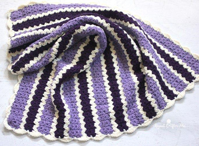 Crochet Cluster V-Stitch Striped Blanket with Shell Border | Crochet ...
