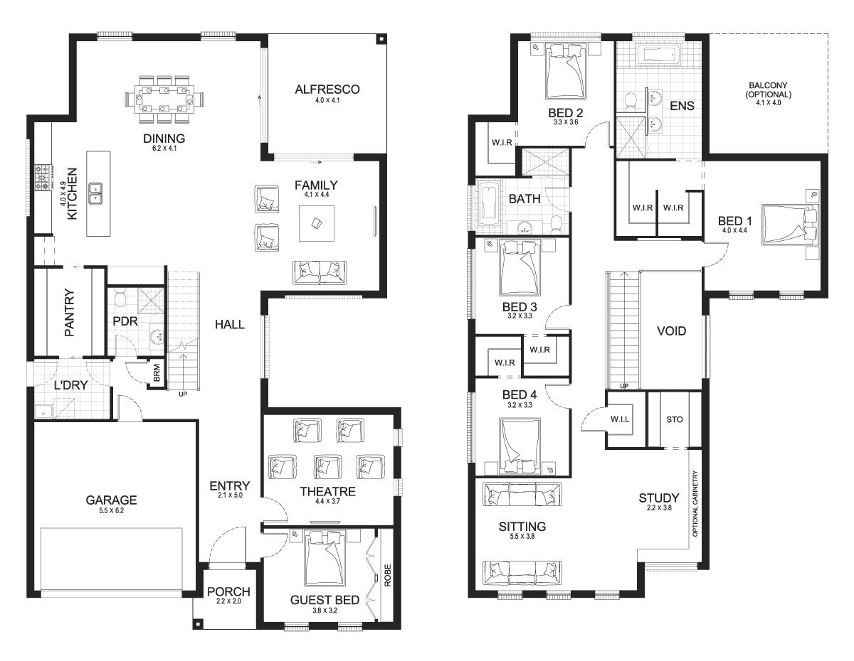 melody 428 double level floorplan by kurmond homes new home builders sydney nsw - Home Building Plans