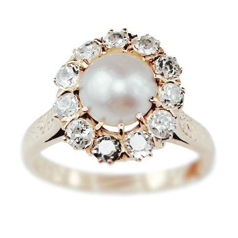 Alivia Vintage Pearl And Diamond Engagement Ring Circa 1950 From