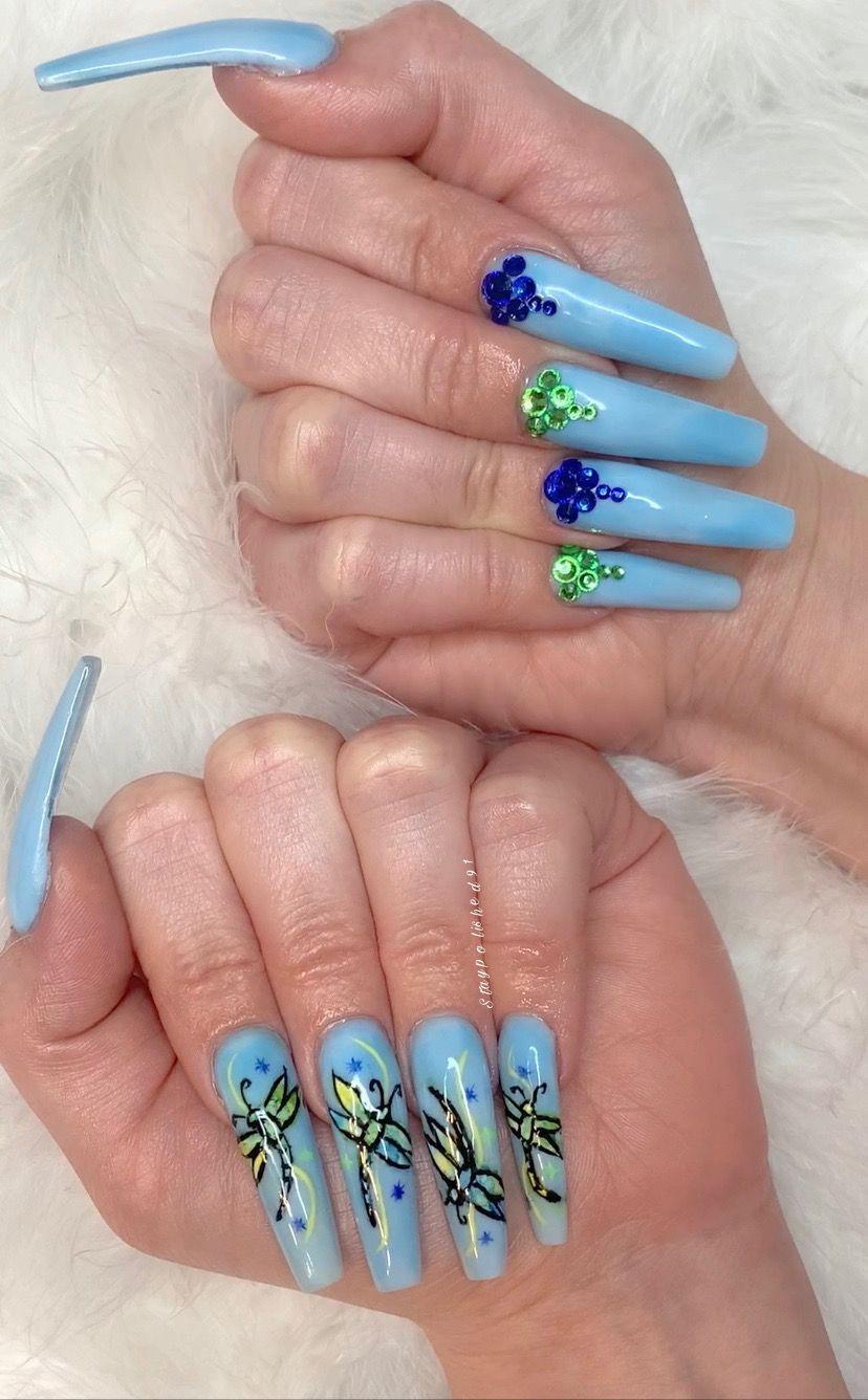 123 Go Xxl Coffin Baby Blue Acrylic Nails W Watercolor