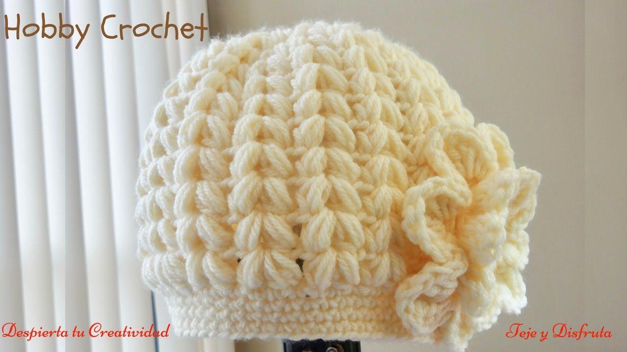 Gorro A Crochet En Punto Puff En Forma De Espiga Paso A Paso