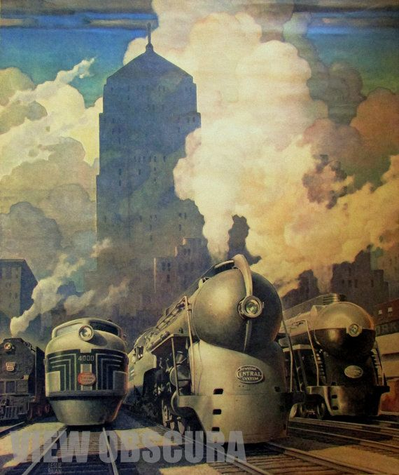 Vintage 1945 Leslie Ragan New York Central Railroad by ViewObscura, $10.00