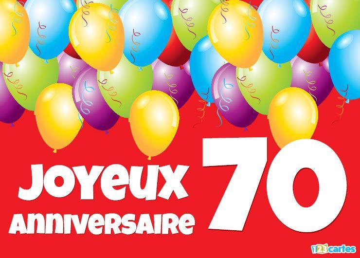 Carte Joyeux Anniversaire 70 Ans Ballons Multicolores à Acheter