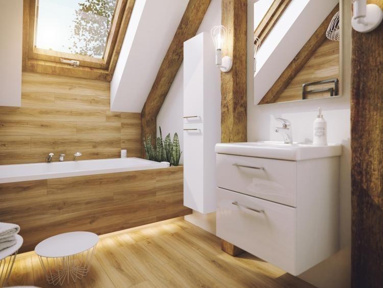 Lighting Basement Washroom Stairs: Defra - Meble Latte - łazienka Na Poddaszu