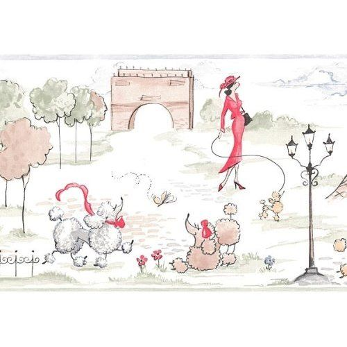 Wallpaper Border Red Paris French Poodle