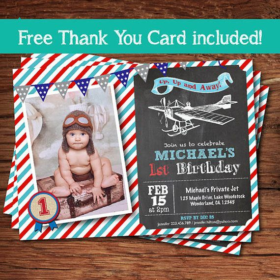 Retro Airplane Birthday Invitation Vintage Pilot Boy 1st First Avian Theme Printable Photo Card Digit Invite KB019