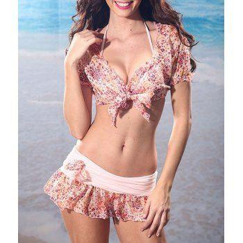eeb68db296  16.04 Halter Tiny Floral Print Plicated Flounces Strappy Three-Piece Sexy  Women s Swimwear Bikini Set