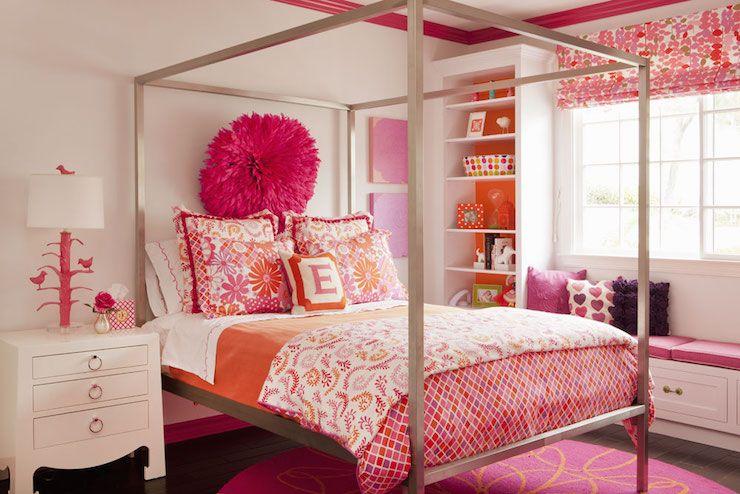 incredible hot pink orange bedroom | Pink and Orange Kids Bedding, Contemporary, Girl's Room ...