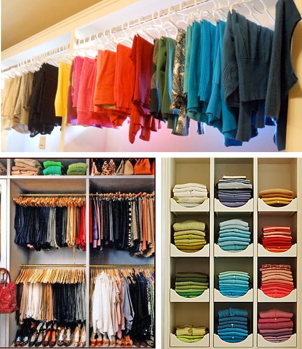 "Color Code Your Wardrobe. A simple and effective technique to ""know what you own"" Color coding your wardrobe in your closet makes it simple to find the clothes you're looking for, coordinate your outfits, and creates an order to your hanging and folded clothing that is deeply pleasing to the eye."