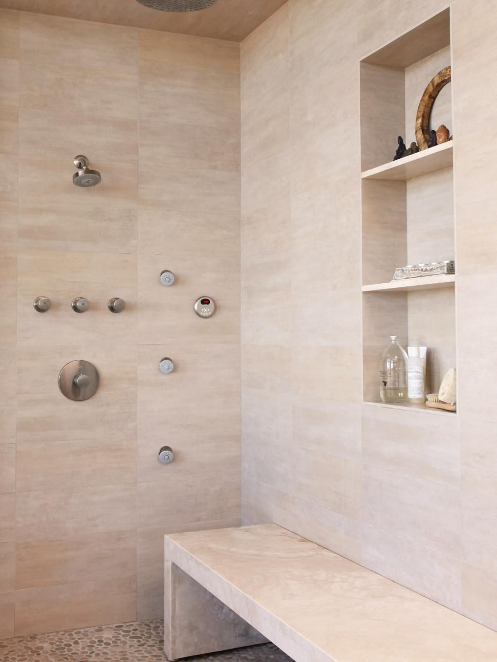 Simple Luxury Describes This Large, Open Shower With Cream And Beige Marble  Wall Tile And Inlaid Stone Medallion Flooring. The Built In Shelves And  Bench ...