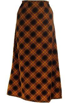 Caramel Plaid Long Skirt