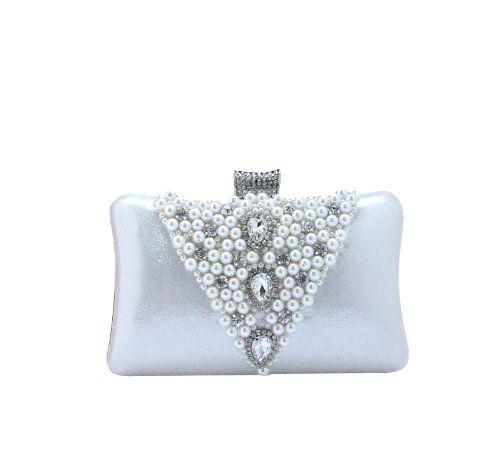 Ladies Elegant Beaded Rhinestone Evening Handbag Wedding Party Bag Purse Clutch Silver Dealkiller Fashion Bag