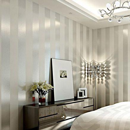 Aliexpress Non Woven Black White Silver Gold Glitter Striped Wallpaper Roll Papel