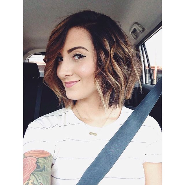 cute short messy bob hairstyle with bangs