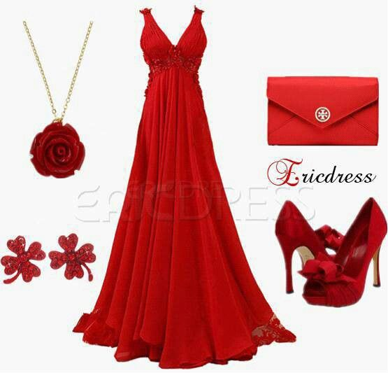 Red Gown And Accessories Red Dress Outfit Red Wedding Gowns Fashion