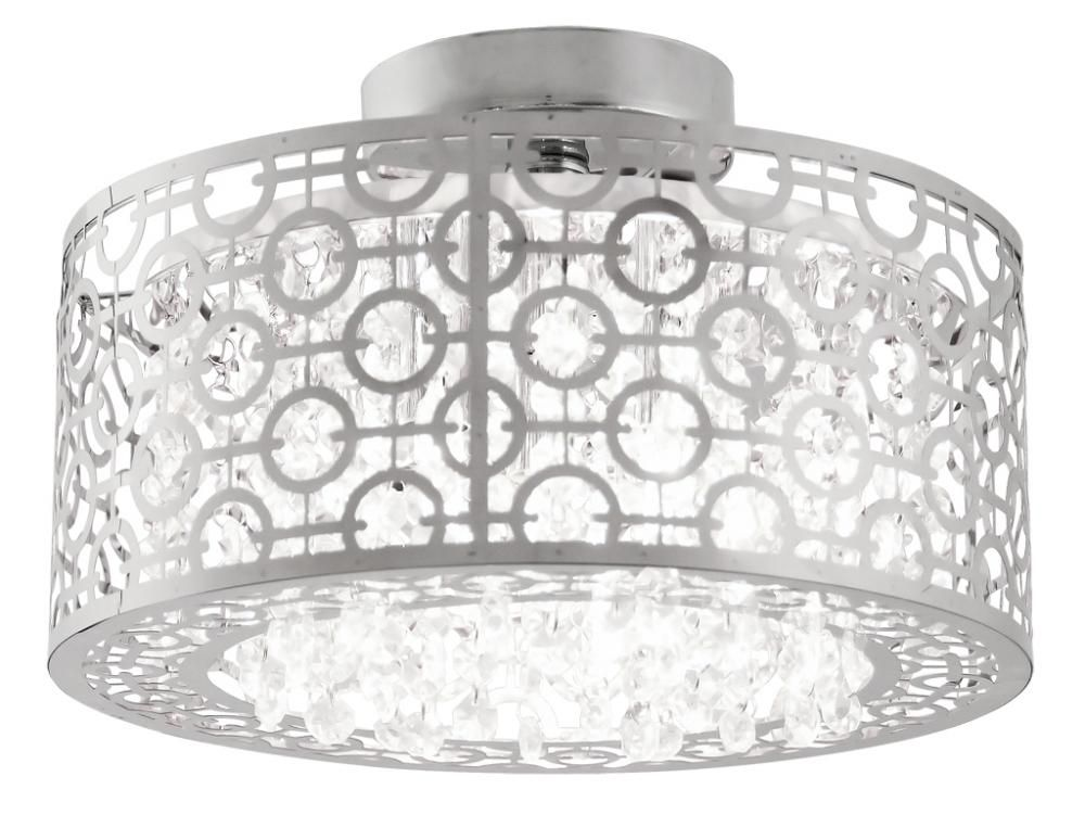 Flush Mount Drum Light With Crystals | ... Three Light Chrome Crystal  Droplets Glass