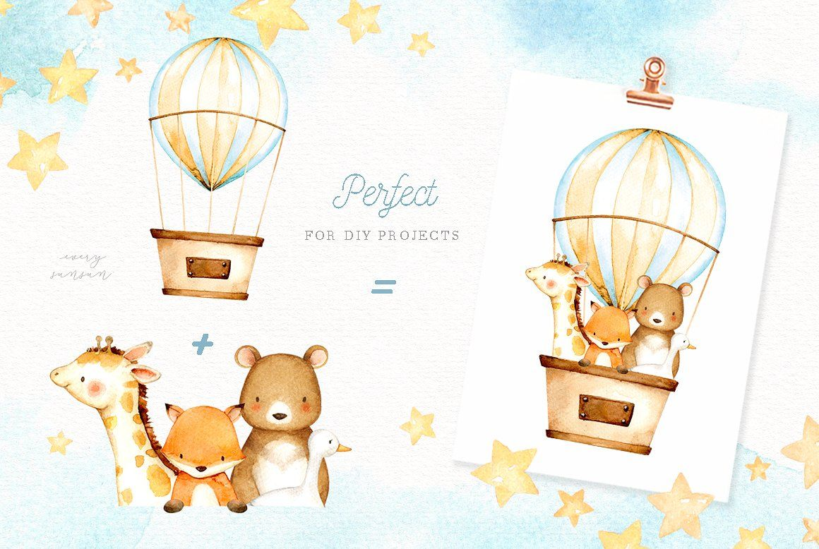 Hot Air Balloon Watercolor Clipart Desenhos Aquarela Decalque