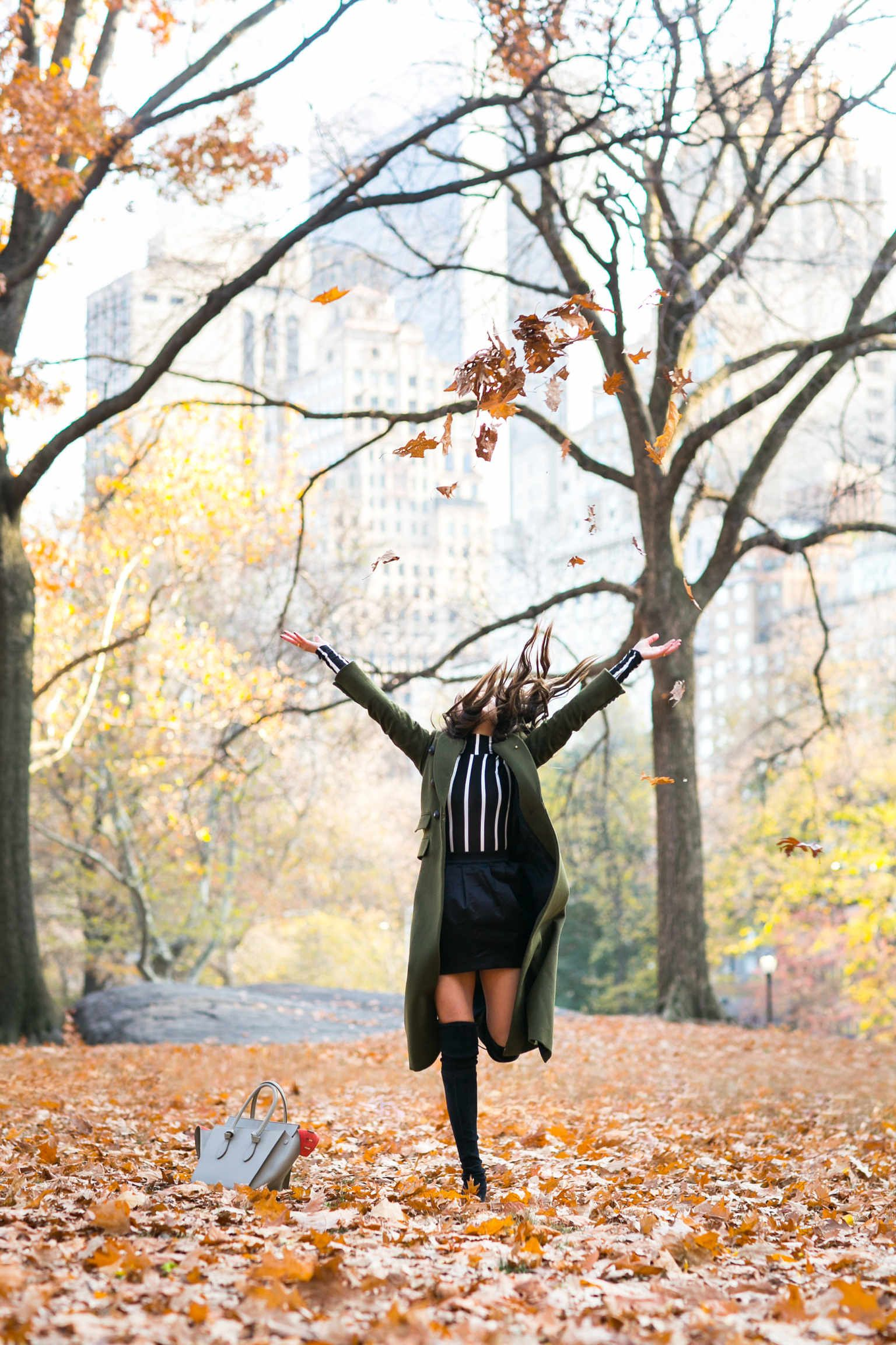 Autumn in Central Park :: Green coat & High boots